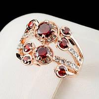 Броское кольцо с кристаллами Swarovski, покрытое слоями золота 0475