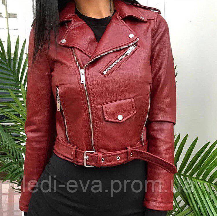 a9b3ead4f Куртка женская Кожаная косуха бордовая, цена 829 грн., купить в ...