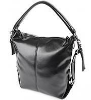 Сумка рюкзак трансформер черный глянцевый на плечо