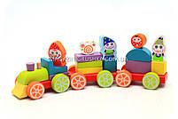 Детский деревянный конструктор Поезд Cubica(Кубика) 12930. Деревянные эко игрушки, фото 3