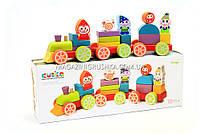 Детский деревянный конструктор Поезд Cubica(Кубика) 12930. Деревянные эко игрушки, фото 2