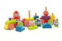 Детский деревянный конструктор Поезд Cubica(Кубика) 12930. Деревянные эко игрушки, фото 4
