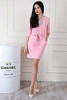 Розовое нежное платье с поясом