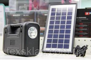Аккумуляторный фонарь GD-8038 (4 лампочки/солнечная панель)