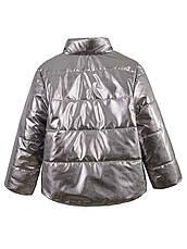 Детская демисезонная куртка на девочку, серебро, р.110-128, фото 2