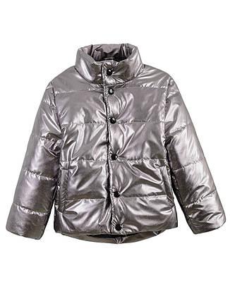 Детская демисезонная куртка на девочку, серебро, р.116,128, фото 2