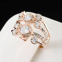 Чудесное кольцо с кристаллами Swarovski, покрытое слоями золота 0533
