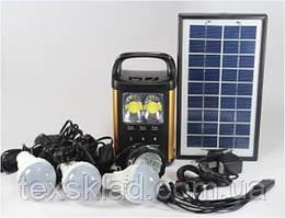 Аккумуляторный фонарь GD-8131 (3 лампочки/солнечная панель)