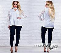 Женская стильная блузка с лентой на шее Батал, фото 1