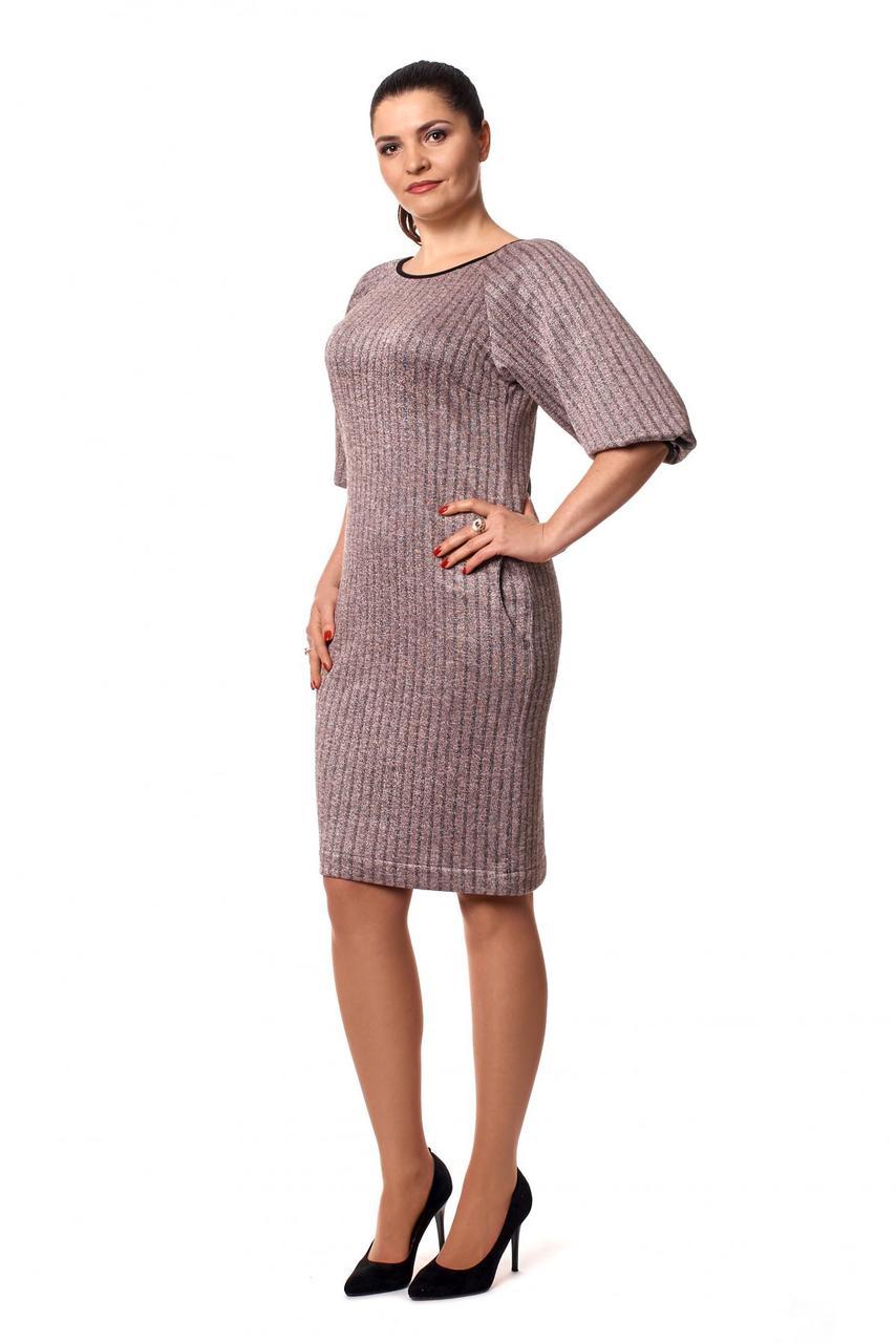 Тёплое модное платье из блестящего трикотажа с люрексом