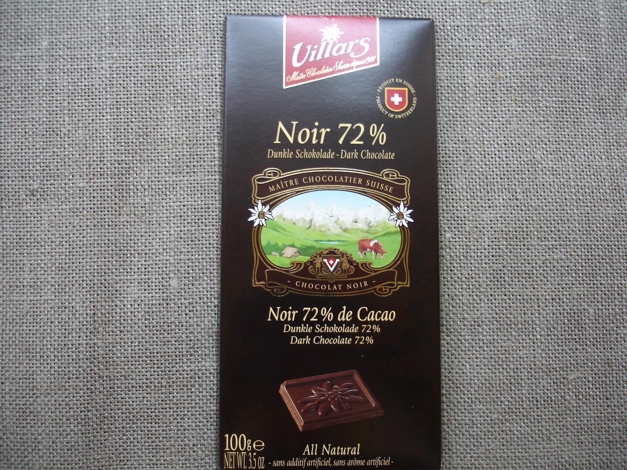 """Черный шоколад, 72% """"ТМ Villars"""" 100г."""