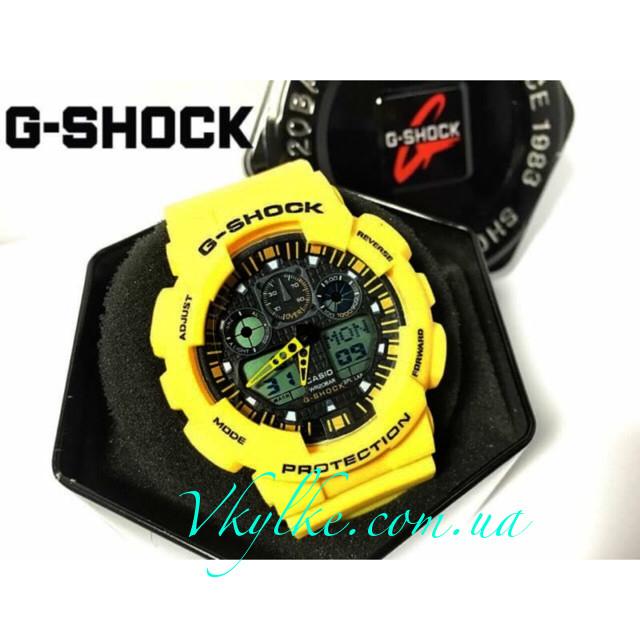 Спортивные часы Casio G-Shock GA-100 желтые