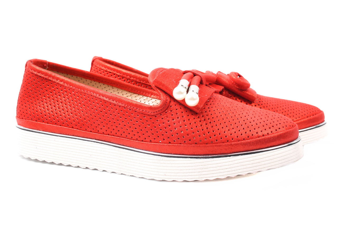 Туфли женские Mario Muzi натуральная кожа, цвет красный (платформа, комфорт, лето, Турция)