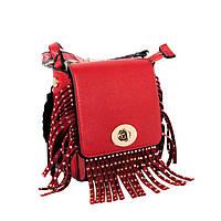 Красная кожаная сумка с бахромой, сумка крос-боди