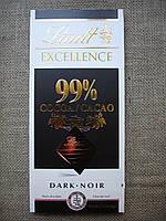 """Черный шоколад, 99% """"Lindt Excellence"""" 50 г."""