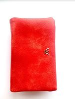 Женский красный мягкий кошелек