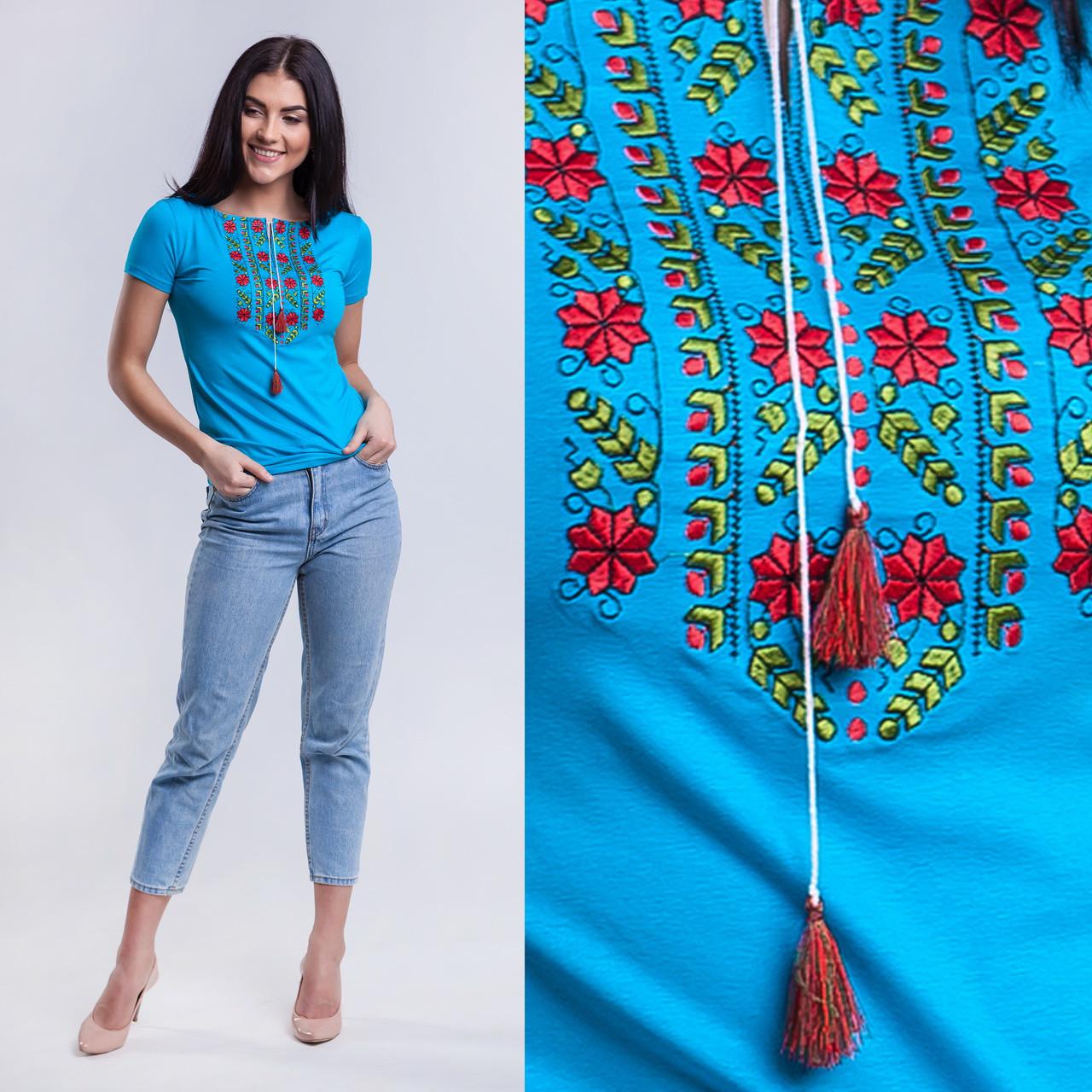 Бирюзовая трикотажная футболка вышиванка Цветы