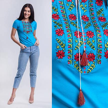 Бирюзовая трикотажная футболка вышиванка Цветы, фото 2