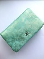 Женский блестящий кожаный кошелек, бирюзовый, серебряный
