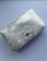 Женский серебрный, серебристый мягкий кошелек