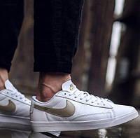 "Кроссовки Женские Nike Blazer Low Leather ""White/Haki Gold"""