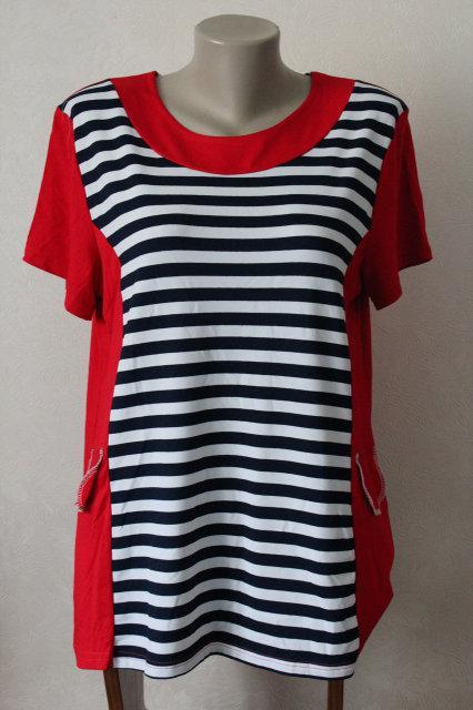 6c79d645757 Блуза женская удлиненная в полоску большого размера производства польша