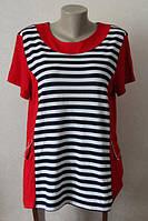 Блуза женская удлиненная в полоску большого размера производства польша