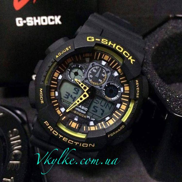 Спортивные часы Casio G-Shock GA-100 черные с желтым
