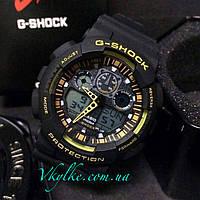 Спортивные часы Casio G-Shock GA-100 черные с желтым, фото 1