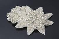 """Украшение для волос """"fougère"""" (ткань), ленточка с двумя белыми цветами в камнях"""