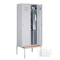 Гардеробный двухячеечный шкаф со стационарной подставкой 2190(h)x800x500 мм