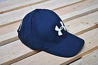 Кепка Under Armour синяя с белым вышитым логотипом