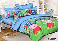 Детское постельное бельё 3D 150*220 Свинка Пеппа  (11028) Ранфорс