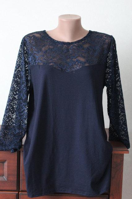 Блузка женская нарядная большого размера с гипюровыми рукавами