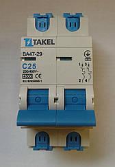 Автоматический выключатель (автомат) TAKEL 2 полюса тип С
