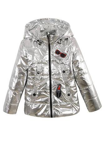 Детская демисезонная куртка на девочку, металик, р.116-140, фото 2
