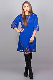 Женское молодежное платья свободного покроя Валенсия размер 46,48,50,52 / цвет электрик