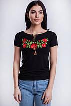 Жіноча футболка вишиванка Багрові маки, фото 2