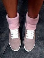 Ботинки зимние женские с теплым довязом на макси подошве нежно розовые пудра