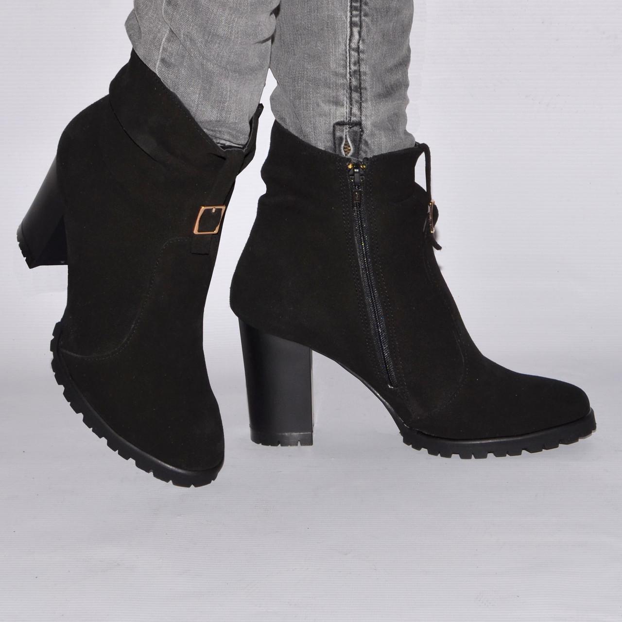 Ботинки на каблуке, из натуральной кожи, замша, лака, на молнии. Шесть цветов! Размеры 36-41 модель S2808