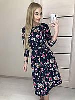 Платье в цветочек футляр синее, электрик и черное, коттон, 42-46