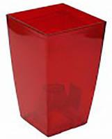 Кашпо Фінезія 125x125 червоний прозорий, пластик