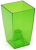 Кашпо Фінезія 125x125 зелений прозорий, пластик
