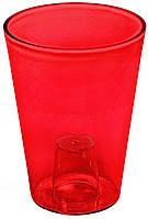 Кашпо Лілія 128 червоний прозорий, пластик