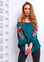 Блузка с вышивкой на рукавах, разные цвета