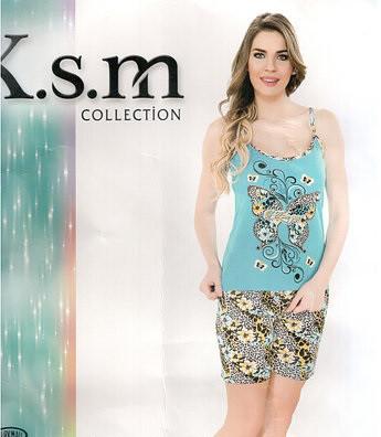 Турецкий костюм с шортами K.s.m, пижама женская Шорты+майка на брительках