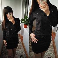 Женское платье из ангоры Мартина с карманами / размер 42-44,46-48,50-52 цвет черный