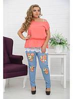 Женские брюки Джинс-Кружево цветное / размер 48-72