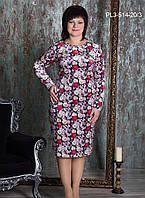 Женское платье из бархата полуприлегающего силуэта / размер 52-58