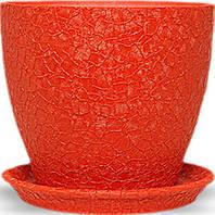 Горщик Магнолія 13*15*1,3 шовк, червоний, кераміка